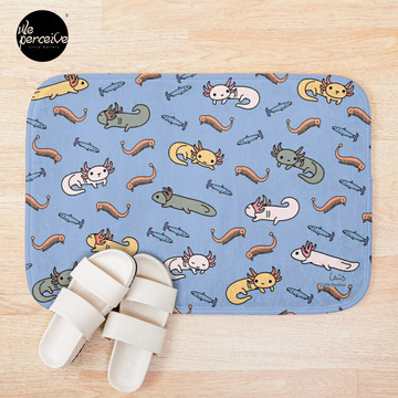 AXOLOTL DIGITAL FRESCO - AXOLOTLS FOOD and DIET Bath Mat