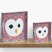 Adorable TAWNY OWL (Strix aluco) with background in PEACHY PINK Acrylic Block