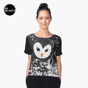 Hater owl illustration designed tshirt in black