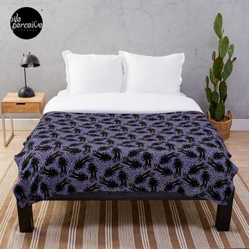 WE LOVE M.C. ESCHER style - Axolotl symmetrical pattern Throw Blanket