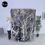 Violet forest photographic shower curtain
