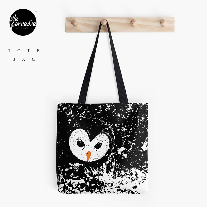 Black and white owl graphic illustration tote bag