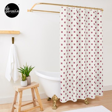 Hong Kong restaurant style - red and white VINTAGE floor tile Shower Curtain