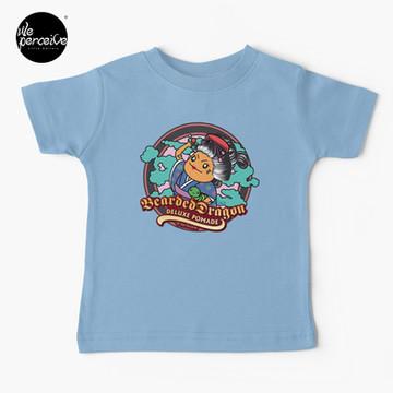 Japanese Style Bearded Dragon Deluxe Pomade Comic Kids T-Shirt in light blue
