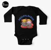 AXOLOTL WAVE Style 2 - We are the CUTEST CREATURE in the Water World Baby Long Sleeve One-Piece in Black