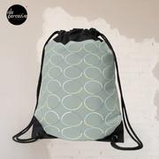 Minimal Circle Pattern in Charcoal Drawstring Bag