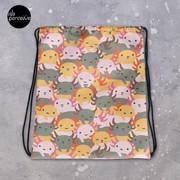 Sweet and Cutest Axolotl Babies Illustration Drawstring Bag for Sport, Swim   Cartoon Weedkend Bag   Your Lovely Belongings