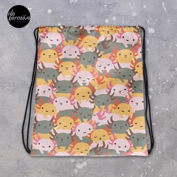 Sweet and Cutest Axolotl Babies Illustration Drawstring Bag for Sport, Swim | Cartoon Weedkend Bag | Your Lovely Belongings