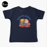 AXOLOTL WAVE Style 2 - We are the CUTEST CREATURE in the Water World Kids T-Shirt in Dark Blue