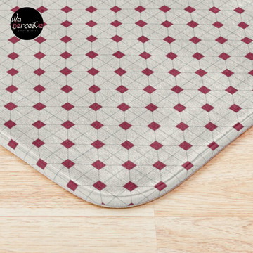 Hong Kong restaurant style - red and white VINTAGE floor tile Bath Mat