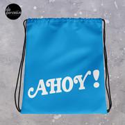 Blue AHOY Drawstring Bag