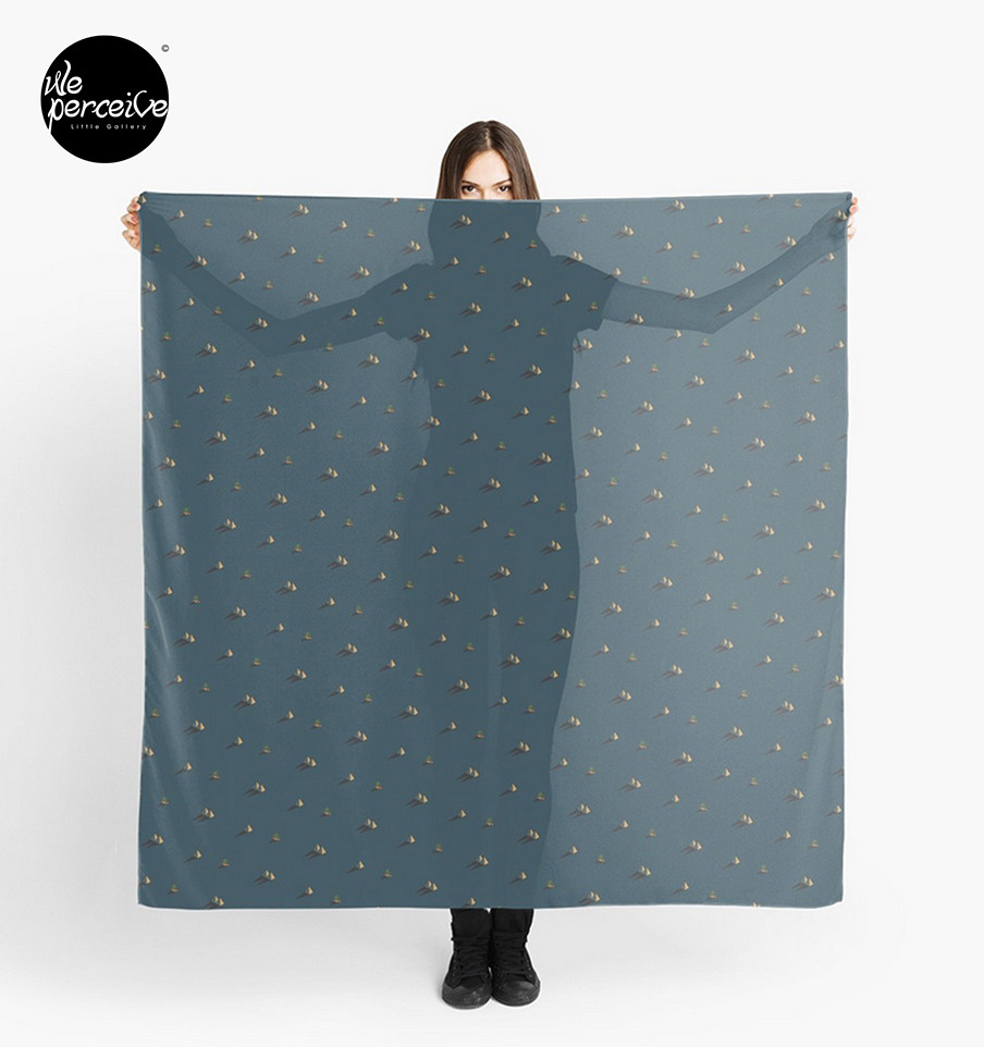 We perceive Egypt day and night pyramid and cactus pattern dark blue scarf