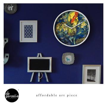 Collage art piece wall clock