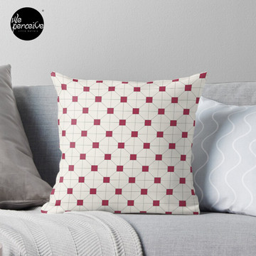 Hong Kong restaurant style - red and white VINTAGE floor tile Throw Pillow