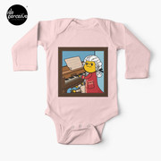 Bearded Dragon Illustration with Wolfgang Amadeus Mozart Cosplay Baby One-Piece