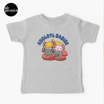 AXOLOTL WAVE Style 2 - We are the CUTEST CREATURE in the Water World Kids T-Shirt in Heather Grey