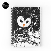 """HATER OWL - """"I'M INNOCENT!"""" black and white hand drawn style illustration Spiral Notebook"""