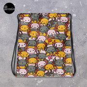 Drawstring Bag with Illustrated Axolotl in Funny and Cute Style for Sport, Swim   Cartoon Weedkend Bag