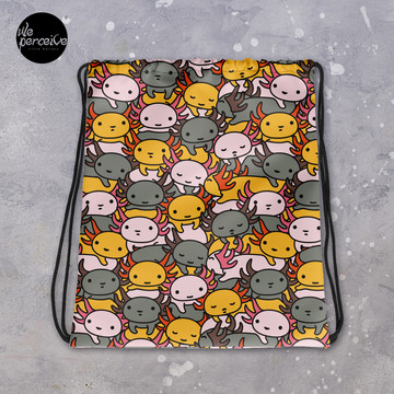 Drawstring Bag with Illustrated Axolotl in Funny and Cute Style for Sport, Swim | Cartoon Weedkend Bag