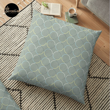 Minimal Circle Pattern in Charcoal Floor Pillow