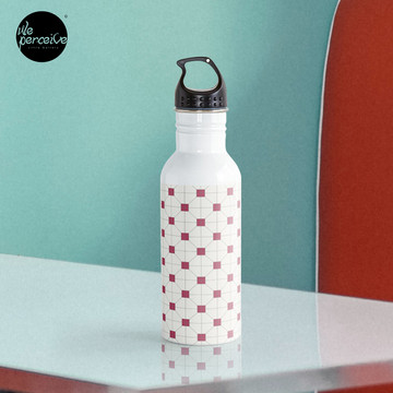 Hong Kong restaurant style - red and white VINTAGE floor tile Water Bottle