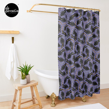 WE LOVE M.C. ESCHER style - Axolotl symmetrical pattern Shower Curtain
