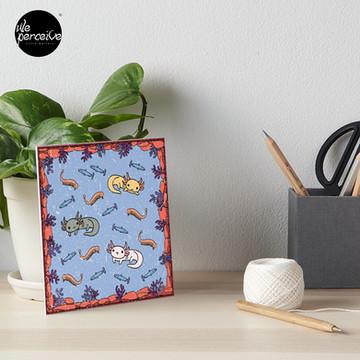 AXOLOTL DIGITAL FRESCO - AXOLOTLS FOOD and DIET Art Board Print