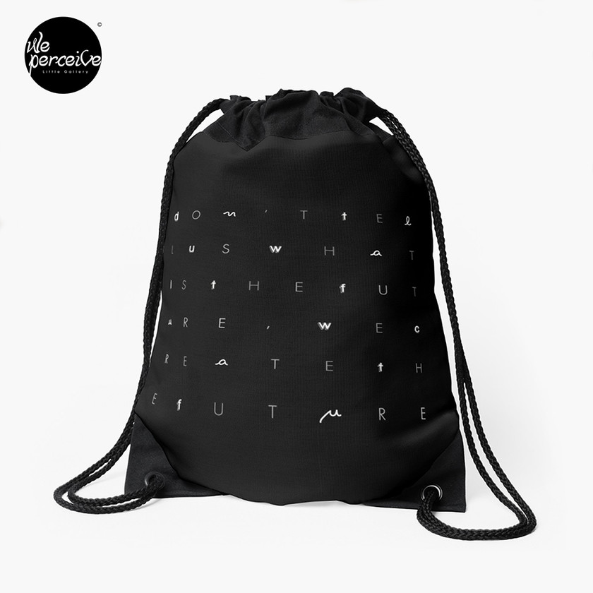 Minimal black and white drawstring bag