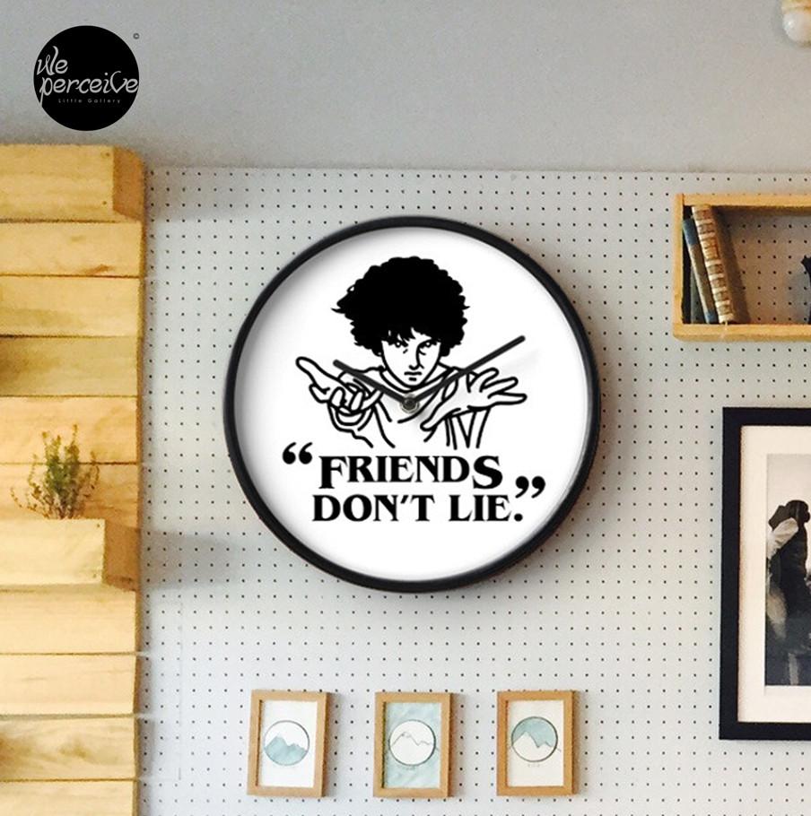 Stranger things friends don't lie wall clock