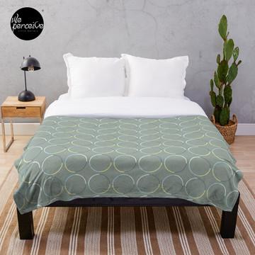 Minimal Circle Pattern in Charcoal Throw Blanket