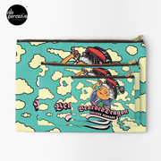 Japanese Style Bearded Dragon Deluxe Pomade Comic Zipper Pouch in sky blue