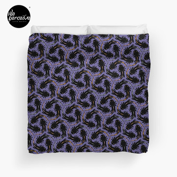 WE LOVE M.C. ESCHER style - Axolotl symmetrical pattern Duvet Cover