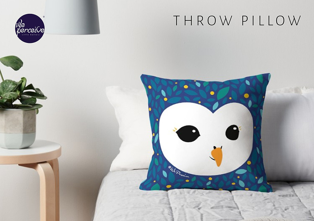 We Perceive adorable owl collection cushion in starry blue