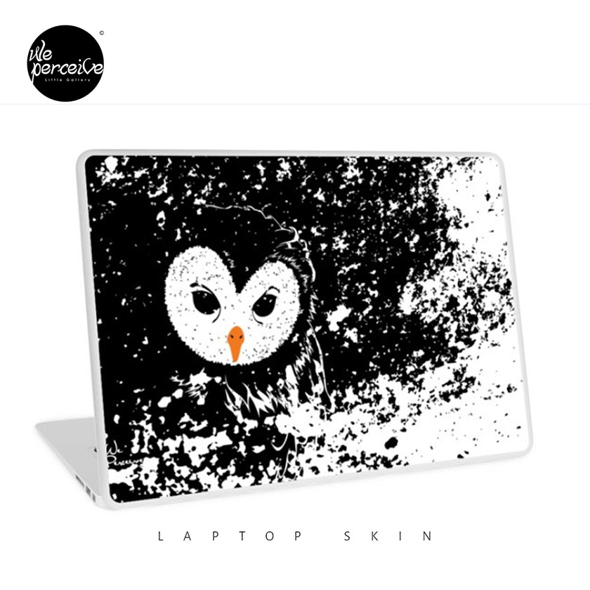Black and white owl graphic illustration laptop skin