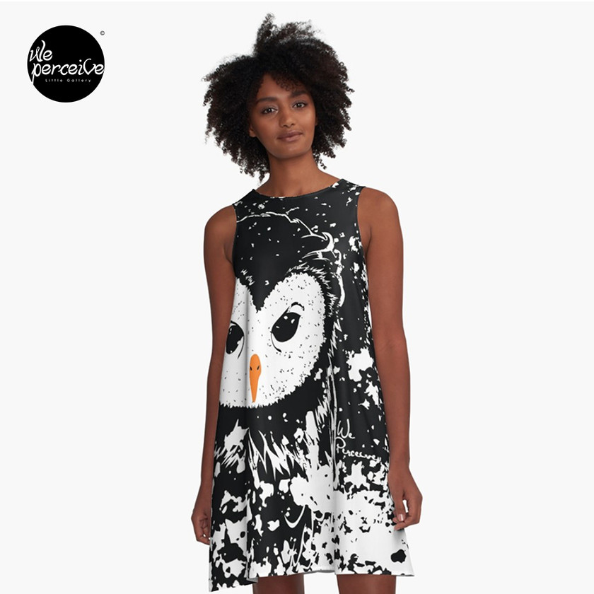 Black and white owl graphic illustration A-line dress