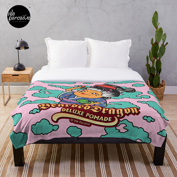 Bearded Dragon Deluxe Pomade Comic pink Throw Blanket with Japanese style