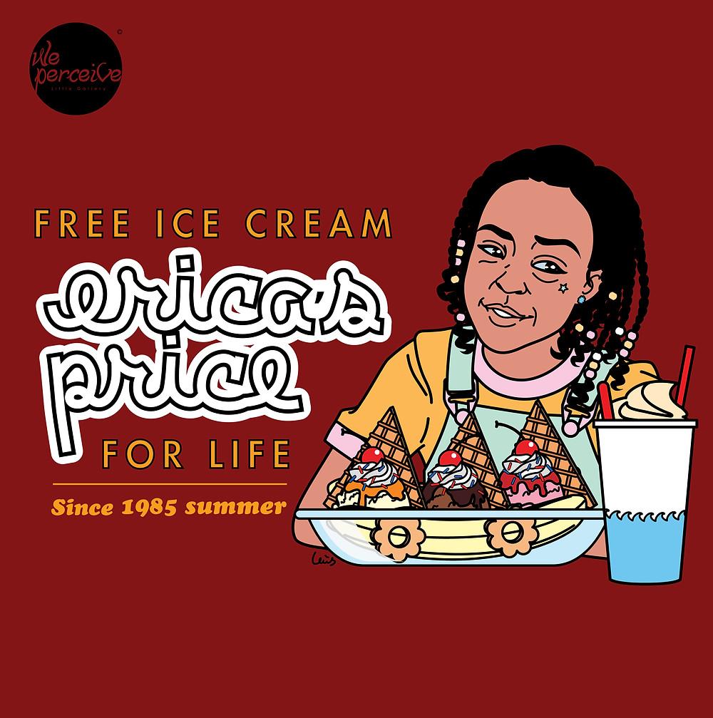 Stranger Things Erica Sinclair free ice cream for life illustration