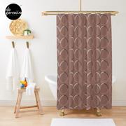 Minimal Circle Pattern in Mocha Shower Curtain
