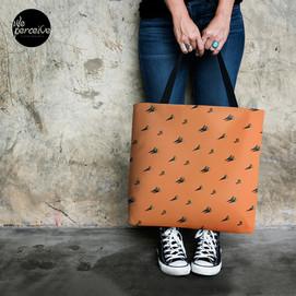 Egypt pyramid cactus orange tote bag.jpg