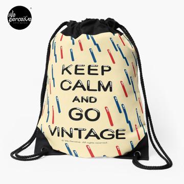 KEEP CALM AND GO VINTAGE Drawstring Bag