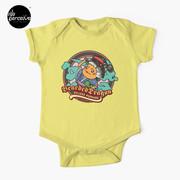 Bearded Dragon Deluxe Pomade Japanese Illustration Baby One-Piece in yellow