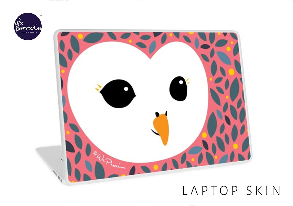 We Perceive adorable owl collection laptop skin in peachy pink