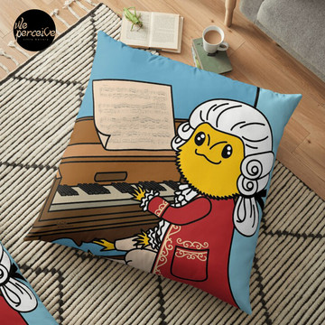 Bearded Dragon Illustration with Wolfgang Amadeus Mozart Cosplay Floor Pillow