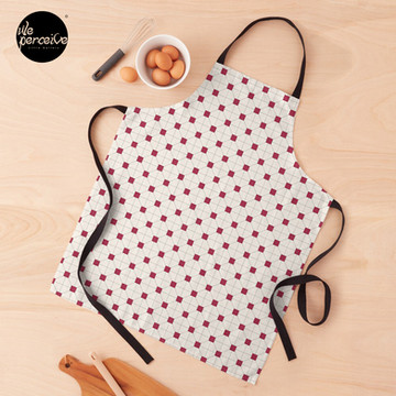 Hong Kong restaurant style - red and white VINTAGE floor tile Apron