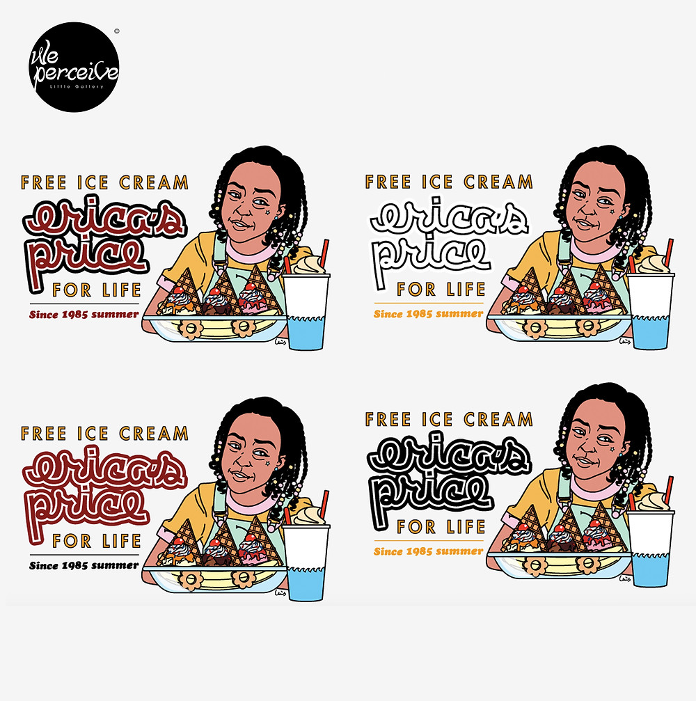 Stranger Things Erica Sinclair free ice cream for life illustration color combinations