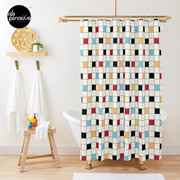 We LOVE the 80s - VINTAGE grid pattern Shower Curtain