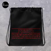 Stranger Things Style Nerd Drawstring Bag in Black for Gym, Sport, Swim   Nerd Quote by Erica Sinclair   Unisex