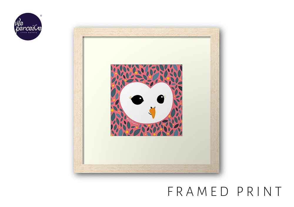 We Perceive adorable owl collection framed print in peachy pink