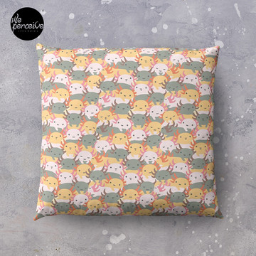 AXOLOTL WAVE - We are the CUTEST CREATURE in the Water World Throw Pillow