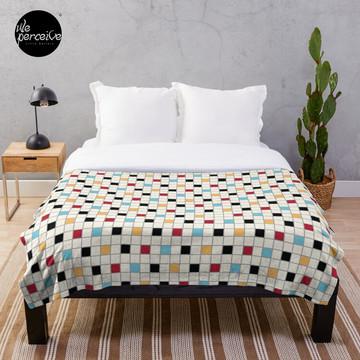 We LOVE the 80s - VINTAGE grid pattern Throw Blanket
